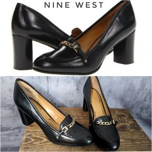Nine West Occo leather & gold heeled loafers 😍
